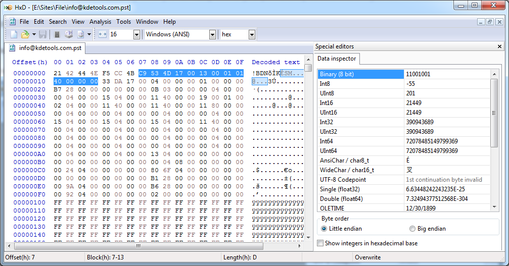 Open PST with Hex Editor