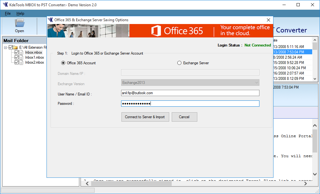 MBOX to Office 365 Option