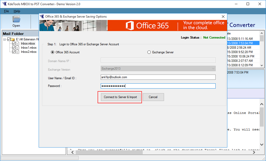 Import MBOX to Office 365