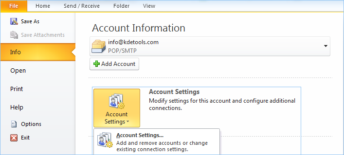 Outlook Account Setting
