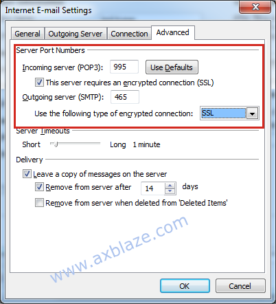 Advanced Settings for Encrypted Connection